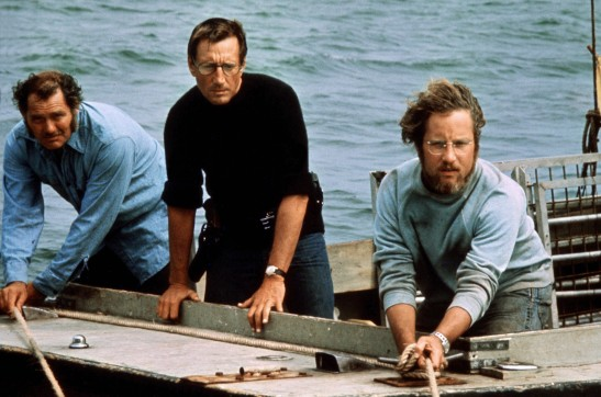 Robert Shaw (from left), Roy Scheider and Richard Dreyfuss play a shark hunter, a police chief and a marine biologist in 1975's Jaws.