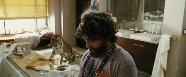 25 unexpected movie moments when an animal just shows up for The hangover tiger in the bathroom